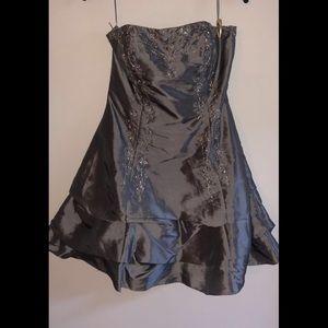 Silver beaded homecoming dress